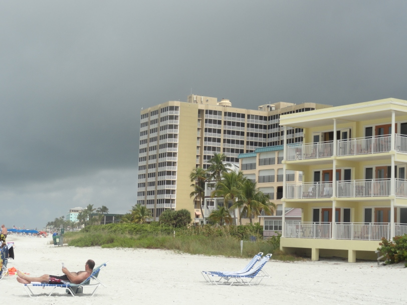 The high-rise Diamondhead Beach Resort where I stayed, with some ominous-looking storm clouds rolling in.