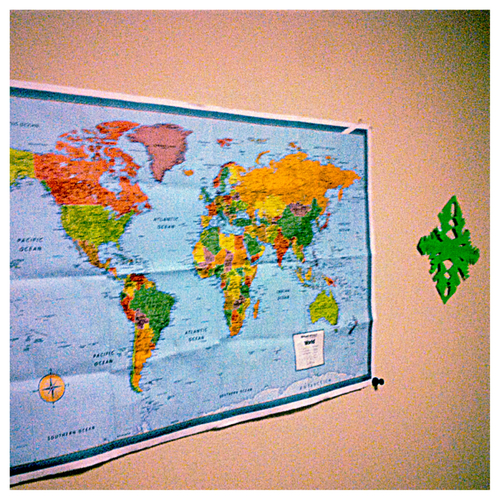 world map in dorm
