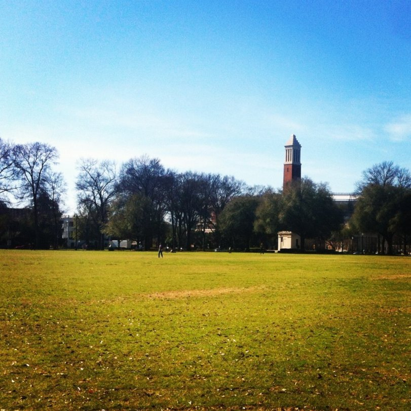green grass quad with denny chimes