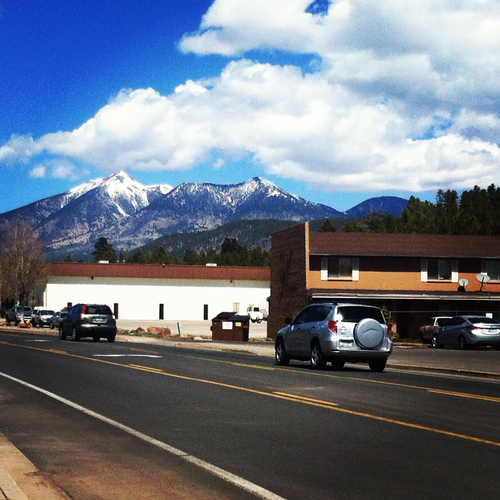 Mountains rising up above Flagstaff