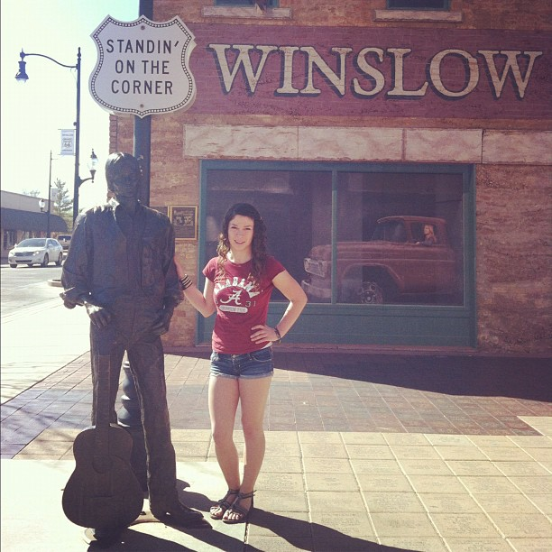 Standin' on the corner in Winslow, Arizona, taking it easy
