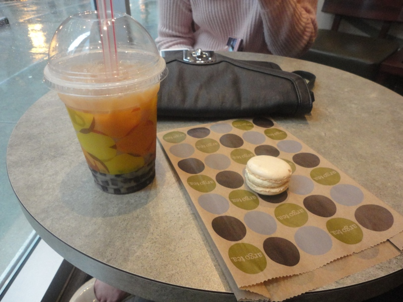 Bubble tea and vanilla macaron