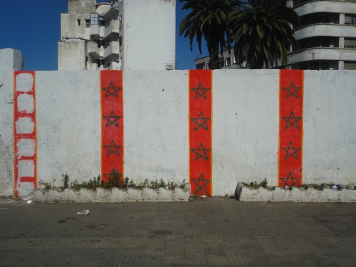 Moroccan flag style wall